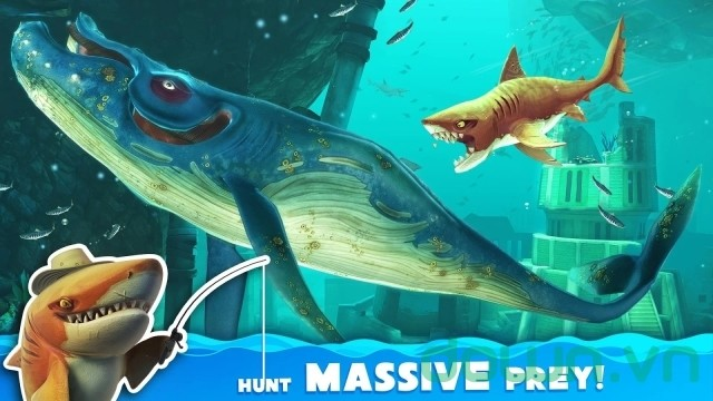 Săn mồi trong game Hungry Shark World