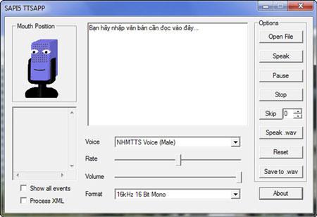 Phần mềm đọc văn bản tiếng Việt NHMTTS SAPI5