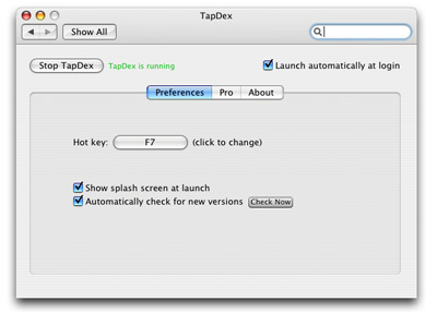 TapDex for Mac OS X