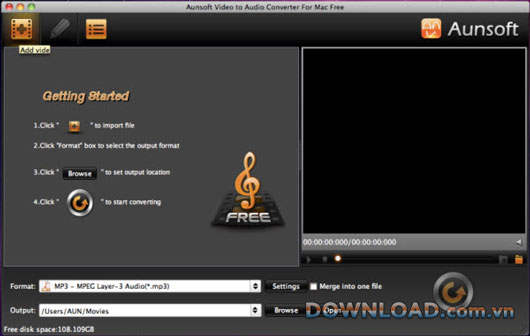 Aunsoft Video to Audio Converter Free For Mac