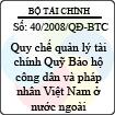 Quyết định số 40/2008/QĐ-BTC