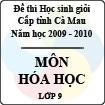 Đề thi học sinh giỏi tỉnh Cà Mau lớp 9 năm 2010 môn Hóa học