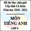 Đề thi học sinh giỏi tỉnh Cà Mau lớp 9 năm 2011 môn Tiếng Anh