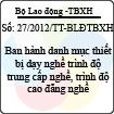 Thông tư 27/2012/TT-BLĐTBXH