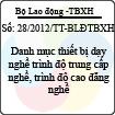 Thông tư 28/2012/TT-BLĐTBXH