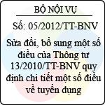 Thông tư 05/2012/TT-BNV