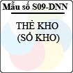 Mẫu số S09-DNN: Thẻ kho (sổ kho)