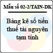 Mẫu số 02-2/TAIN-DK: Bảng kê số tiền thuế tài nguyên tạm tính