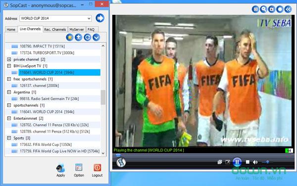 Xem bóng đá với Sopcast trên Windows 8