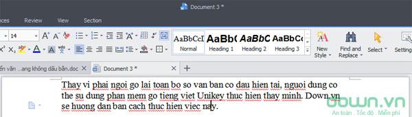 Chuyển văn bản có dấu sang không dấu bằng Unikey