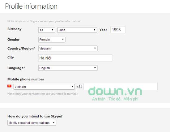 Cách tạo tài khoản, lập nick mới trên Skype