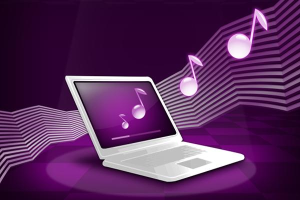 nghe nhạc khi gập máy tính