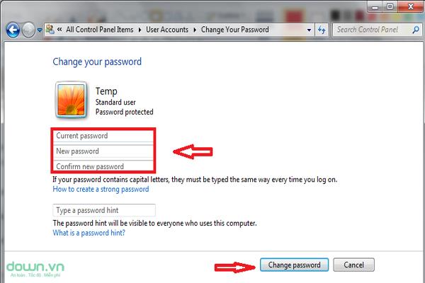 Thay đổi mật khẩu