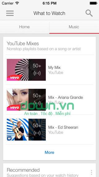 Xem video, mp3 trên YouTube cho iOS