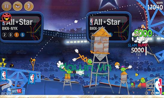 Phiên bản bóng rổ trong Angry Birds Seasons cho Windows Phone