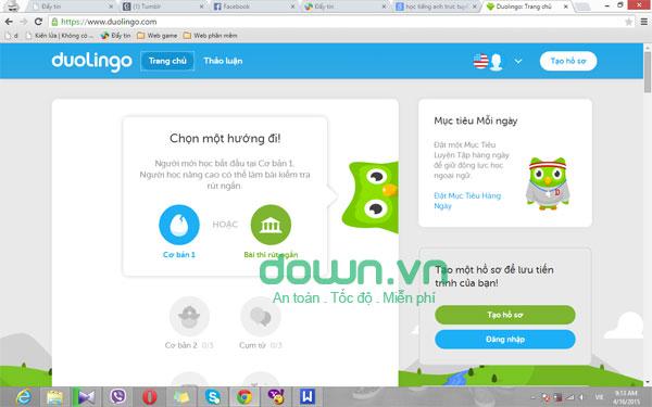 Học ngoại ngữ trực tuyến với Duolingo cho PC