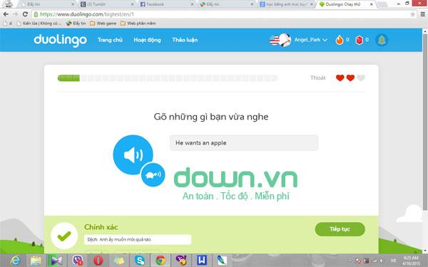 Hệ thống bài học phong phú với Duolingo cho PC