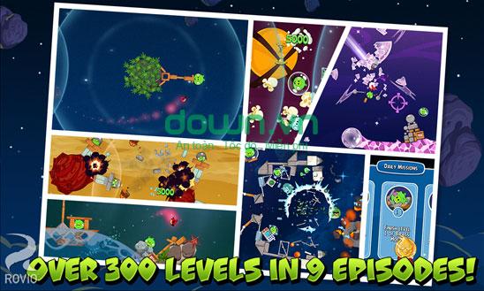 300 level trong 9 chương khác nhau trong Angry Birds Space