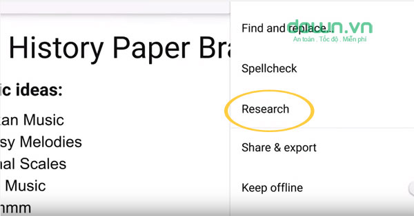 Công cụ Research trong Google Doc cho Android