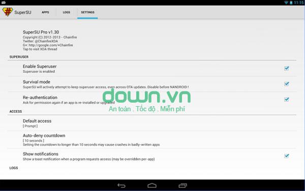 Truy cập và quản lý tài khoản Superuser trên Android