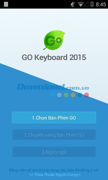 Giao diện khởi động của GO Keyboard