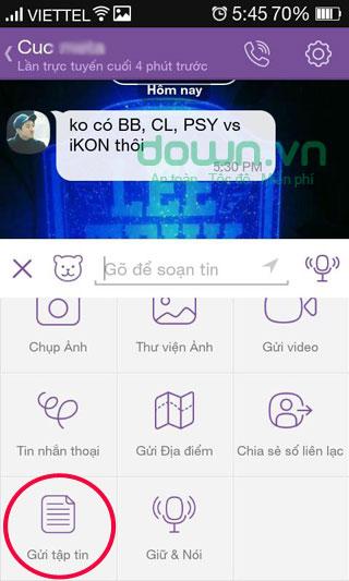 Hướng dẫn cách dùng tính năng nhận và gửi file qua Viber