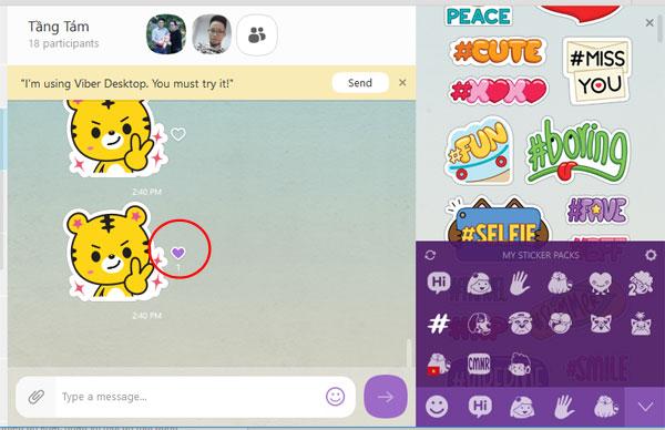 Tính năng like tin nhắn trên Viber khi chat nhóm