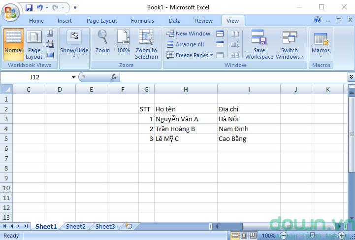 Mở tập tin Excel muốn cố định dòng cột lên