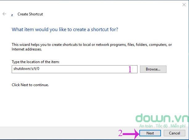 Nhập dòng ký tự vào hộp thoại Create Shortcut