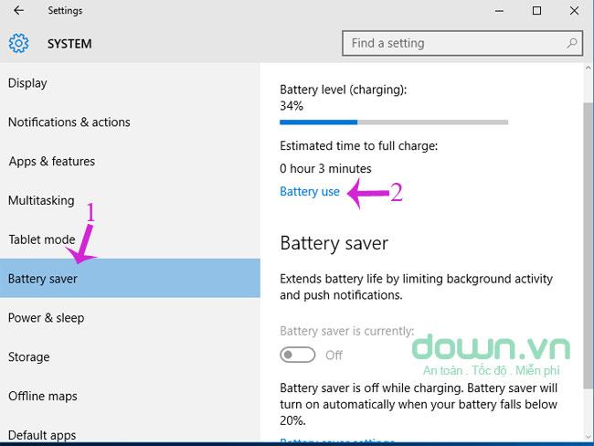 Nhấn Battery Use