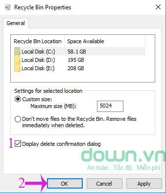 Đánh dấu vào tùy chọn Display delete confirmation dialog