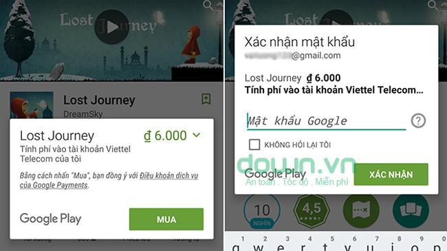 Mua ứng dụng bằng tài khoản Viettel Telecom