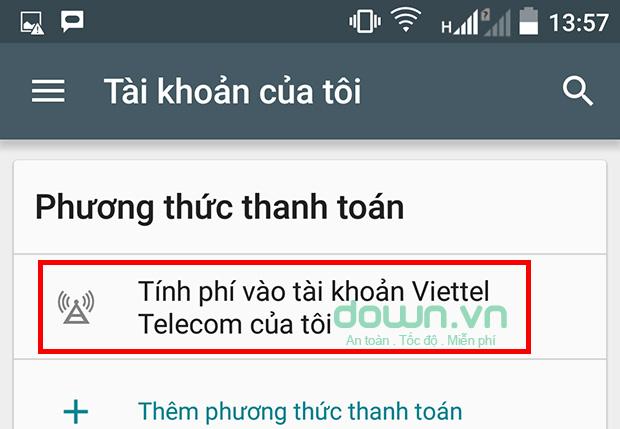 Tính phí vào tài khoản Viettel Telecom của tôi