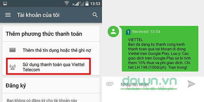 Sử dụng thanh toán qua Viettel Telecom