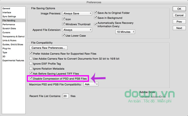 Disable compression of PSD and PSB Files