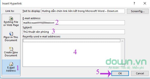 Chèn link địa chỉ email