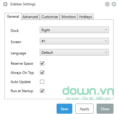 Tùy chỉnh giao diện sidebar