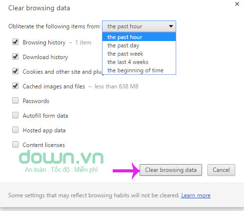 Nhấn Clear browsing data
