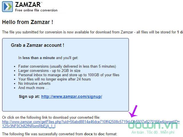 Nhấn vào đường link được gửi đến từ Zamzar
