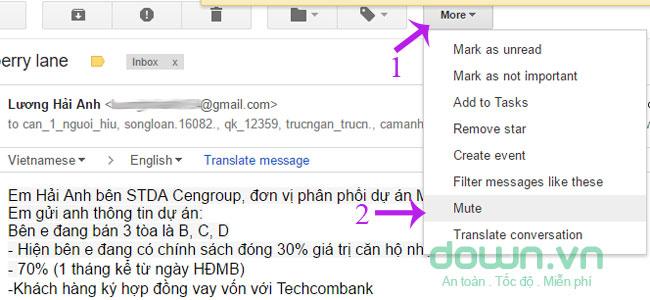 Tắt thông báo từ email dạng hồi đáp