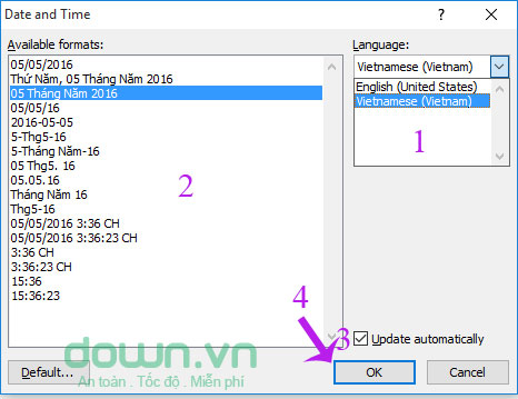 Thiết lập các tùy chọn trong Date and Time