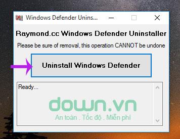 Nhấn nút Uninstall Windows Defender