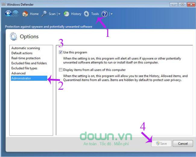 Bỏ đánh dấu tùy chọn Use this program