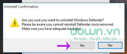 Xác nhận xóa Windows Defender