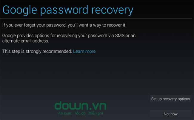 Thiết lập chế độ khôi phục mật khẩu