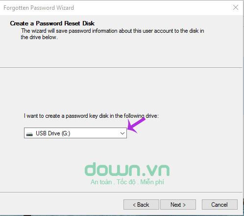 Chọn USB muốn khởi tạo