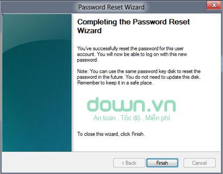 Thông báo reset mật khẩu thành công