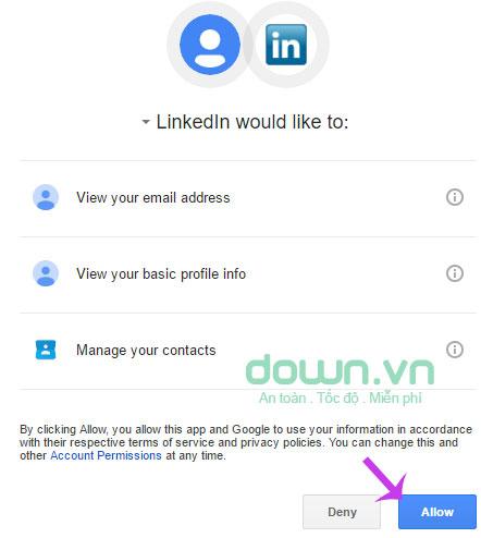 Chấp thuận với yêu cầu của LinkedIN