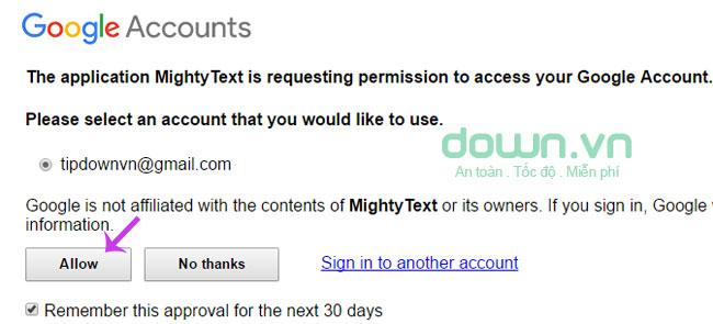 Cho phép truy cập tài khoản Gmail