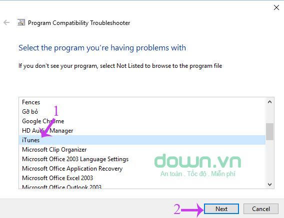 Chọn phần mềm muốn sửa lỗi